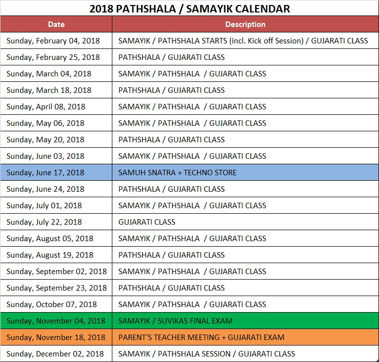 Pathshala Schedule