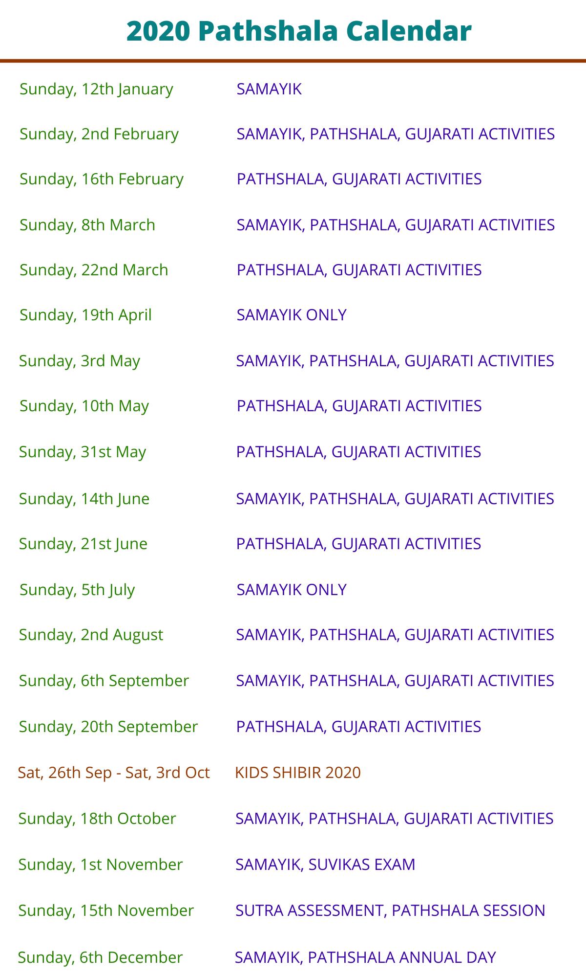 2020 - Pathshala Calendar