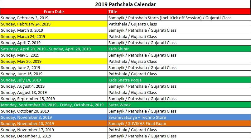 Pathshala 2019 Schedule
