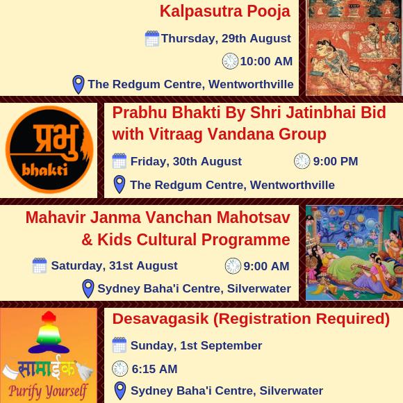 Paryushan Maha Parva 2019 - Key Events 1